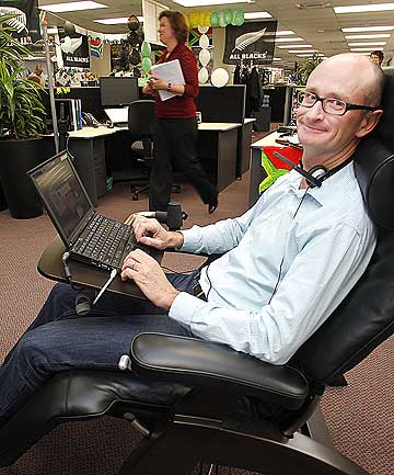 NEW APPROACH: Paul Reid, NZ Post's head of technology innovation, has swapped his desk for a lazyboy chair and a laptop.