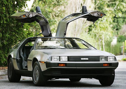 An original DeLorean car.