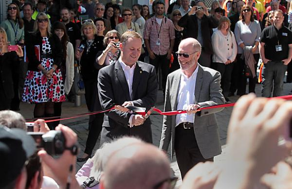 Prime Minister John Key cuts the ribbon