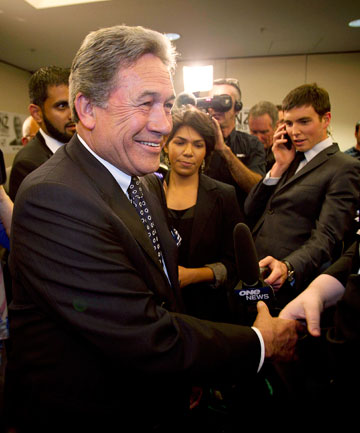 Winston Peters greets supporters at a New Zealand First celebration in Takapuna last night.