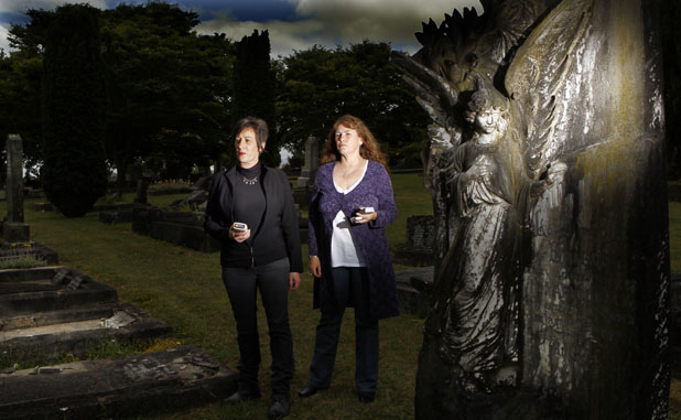 SPOOKED: Quantum Foundation founders Lisa Austen, left, and Tracey Royce investigate paranormal activity in the Waikato and say Hollywood horror flicks are nothing like the real thing.