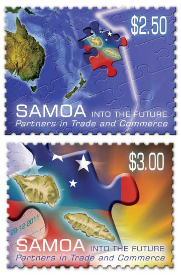 Two of the stamps printed to mark Samoa's change on the international dateline.