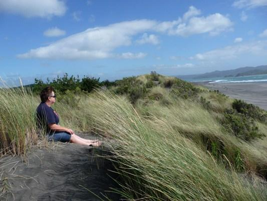 TIME OUT: Lamberta Groves took this picture of her sister relaxing on the beach at Kawhia at New Year.