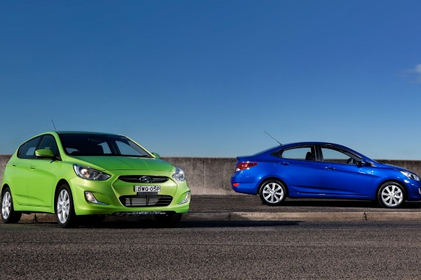 Twin Accents: The hatch, left, and sedan, are both available in petrol or diesel forms.