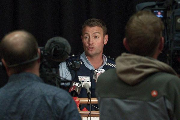 Wairarapa Area Commander Brent Register talks to media.