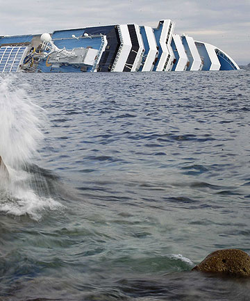 DANGEROUS SEARCH: The Costa Concordia cruise ship that ran aground off the west coast of Italy.