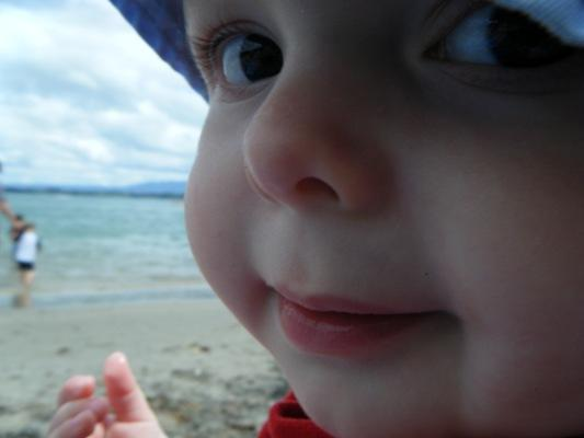 WIDE-EYED: Tyler Jack enjoys his first summer at Waihi Beach.