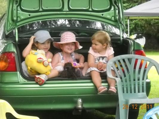 PRECIOUS CARGO: Cousins Alexandra and Samantha Carmichael amd Izabella Gordon takes shelter in a car boot at the Pirongia Races on Boxing Day.