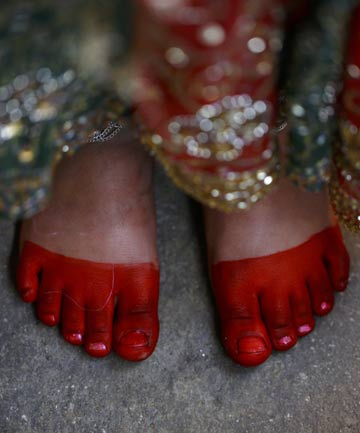 A foot of a Newar girl is pictured during an Ihi ceremony in Kathmandu.
