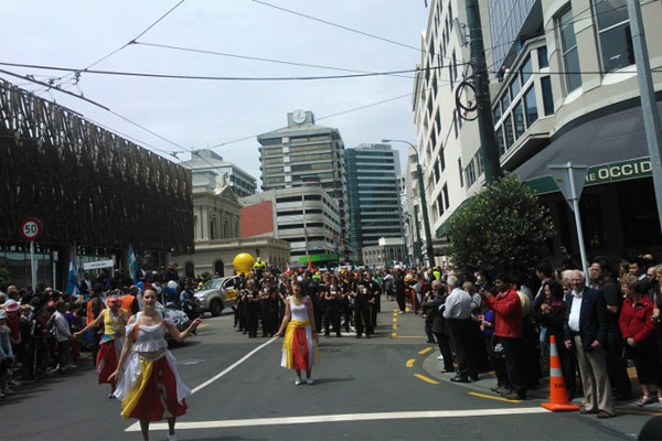 Fans line the streets for the Wellington Sevens Parade.