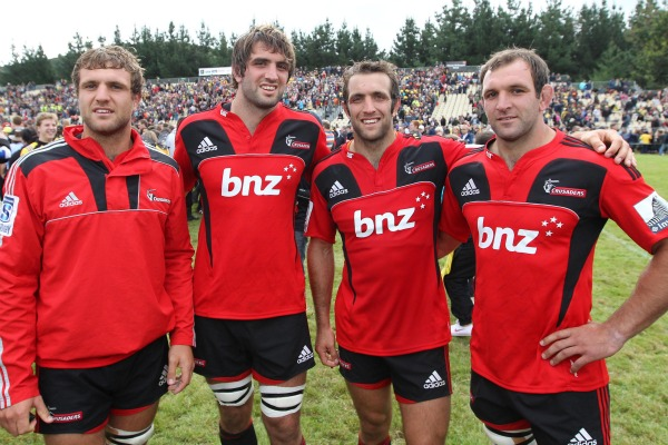 All four Whitelock brothers poses after their first game together in Canterbury colours. From left: Luke, Sam, Adam and George.