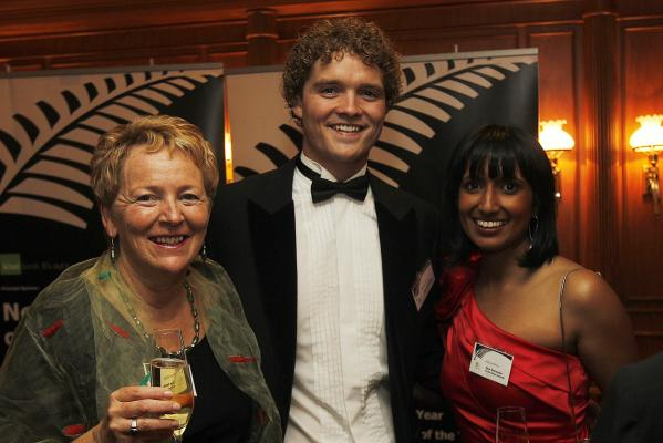 Young New Zealander of the Year winner Sam Johnson with Allison Marshall, left, and Vanisa Dhiru.