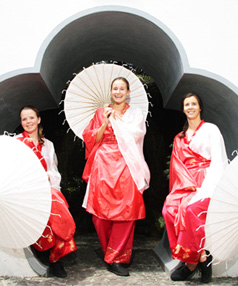 Cultural crossover: Whispering Bird artists Marie Hermo Jensen, Alex Hitchmough and Claire Gray will combine Kiwi and Chinese performance aesthetics into their work. The group is part of the Waikato Times Hamilton Gardens Arts Festival.
