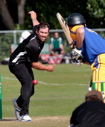 United's Cam Harris bowls a tight line to Old Boys' legend Robbie Laird during the one-day semifinal at Manawaroa Park on Sunday.