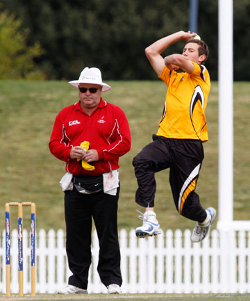Matt Macquet bowls for Wakatu against Waimea Toi Toi United in the Kelvin Scoble final at Saxton Oval.
