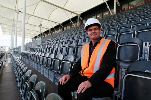 Joe Flynn, Cheif Executive, Christchurch Stadium Trust sits in the North Stand.