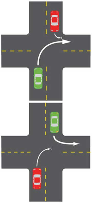 TURNING LEFT: From 5am on March 25, at intersections will no longer give way to the right as above. Instead, drivers turning left have right of way, as below.