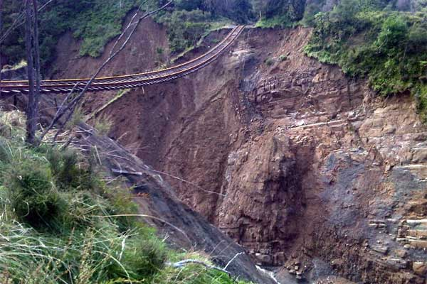 Wharerata ranges rail damage
