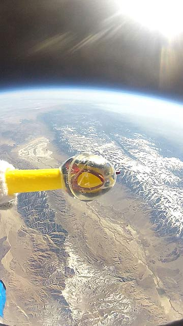 Camilla the rubber chicken is seen at over 36,576 metres above California in this Nasa handout still image taken from video.