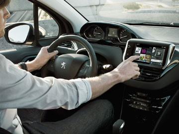 Peugeot makes much of the 208's driving environment. Touch screens will feature in all models.
