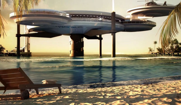 Discus-shaped outbuildings for Dubai's underwater hotel are envisaged