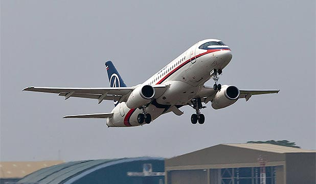 JETLINER: The Superjet 100 plane - Russia's first all-new passenger jet since the fall of the Soviet Union.