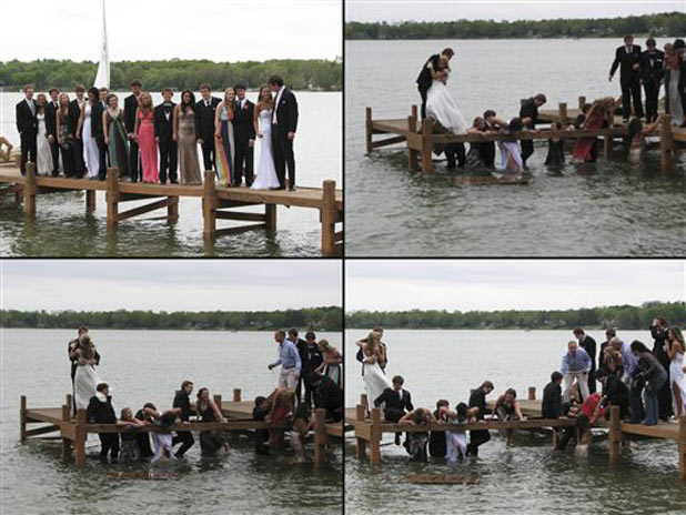 A series of photos a group of 18 Wisconsin high school students posing (upper left) for a photo prior to their prom on a pier in Oconomowoc before a section gave way dropping about half of them into the waist-deep water of a lake.