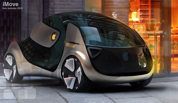 A car designer's impression of how an Apple car could look.