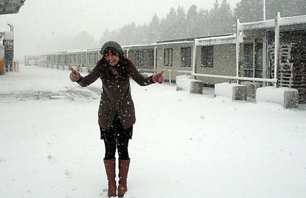 Georgina Stylianou in the snow