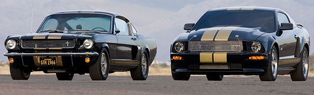 The 2006 Ford Shelby GT-H (right) commemorated the 40th anniversary of the Shelby/Hertz Mustang GT350H Rent a Racer programme.