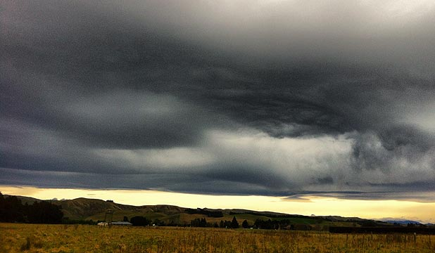 Pre-snow Nor'Wester clouds in Domett, north Canterbury.