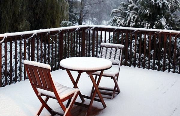 Cosgrove's snow-covered deck