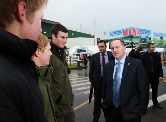PM John Key arrived to a cold and wet Mystery Creek at 10am. PM John Key arrived to a cold and wet Mystery Creek at 10am.