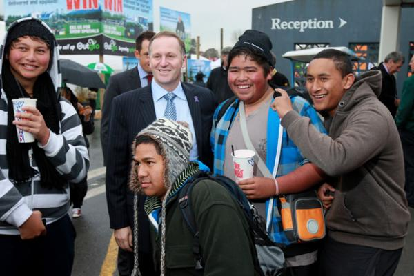 PM John Key arrived t