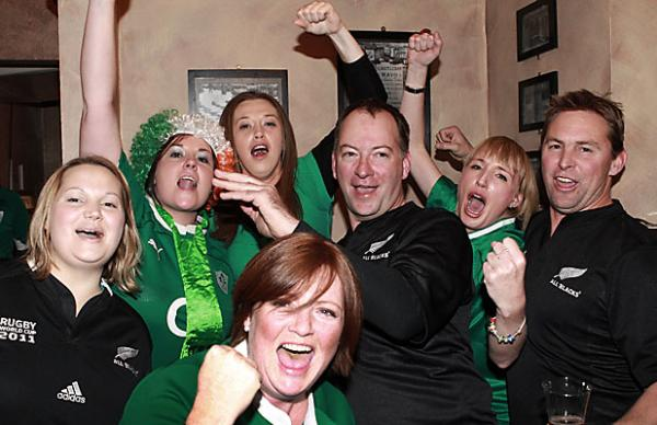 Fans warm up at the Craic pub