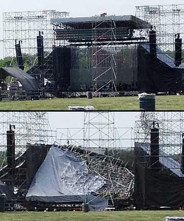 Toronto's Downsview Park stage before (top) and after it collapsed ahead of a planned concert for Radiohead.