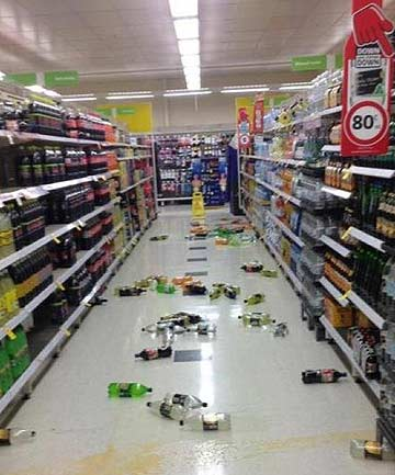 SHAKE: Goods fell from the shelves at Coles supermarket in Warragul, south-east of Melbourne, as the quake hit.
