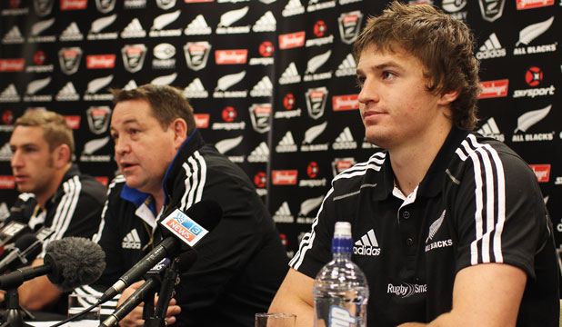Luke Romano, Steve Hansen and Beauden Barrett