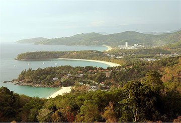 Phuket Island's Kata, Karon and Patong Beaches are seen from an viewpoint from Kata Noi Bay.