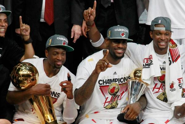 Dwyane Wade, LeBron James and Chris Bosh