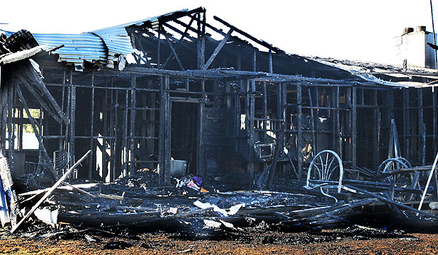 GUTTED: The charred remains of the Ohai house that was destroyed by fire at the weekend.