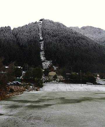 CHILLY: Snow and frost cover the Skyline gondola track in Queenstown.