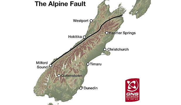 ALPINE FAULT: An 800 kilometre-long fault which runs along