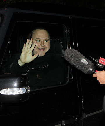 STILL AT RISK OF EXTRADITION: Kim Dotcom outside the Coatesville Settlers Hall. He entered through a back door and would not speak to reporters.