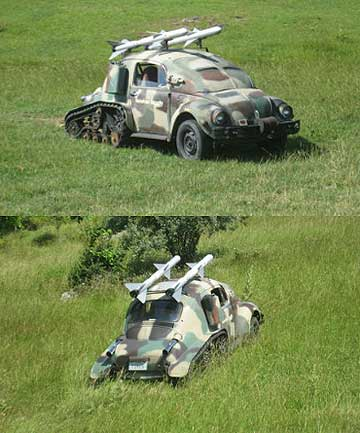 A Volkswagen Beetle turned into a rocket-launching tank called ''Rumble''.