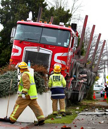 A truck sits atop a fence near the northern entrance to Stratford