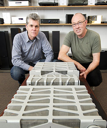 SOUNDLY MADE: Pure Audio founders Gary Morrison, left, and Ross Stevens with their company's audio products, which are designed and manufactured in Wellington.