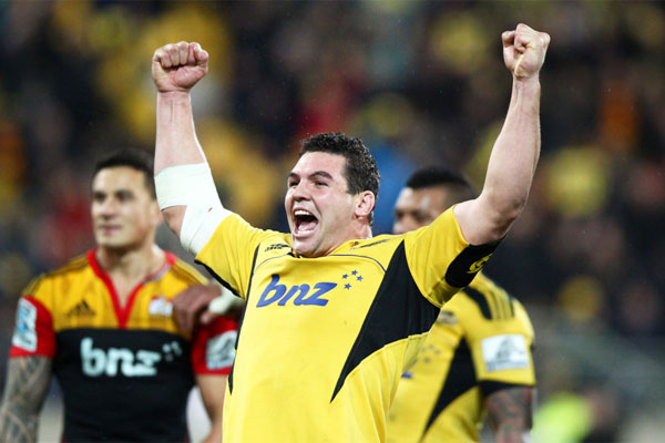 Hurricanes prop Ben May celebrates the team's win over the Chiefs.