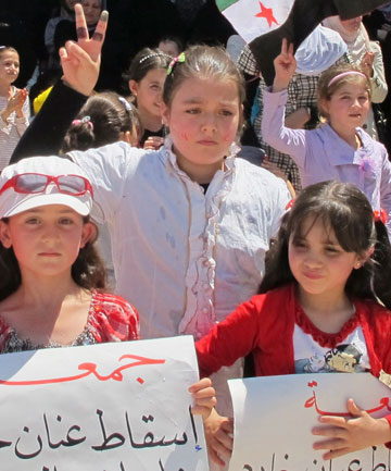 Syria girls protest