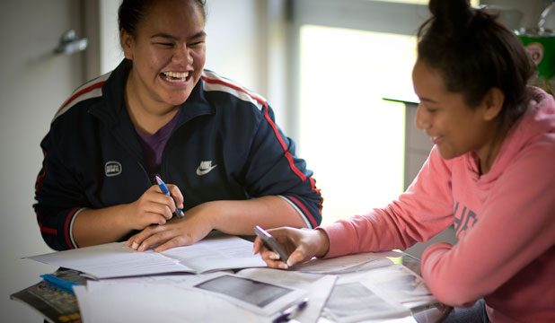 May Wuatai, left, and Seini Ofamooni are in a mentoring group giving them some direction for their career paths.